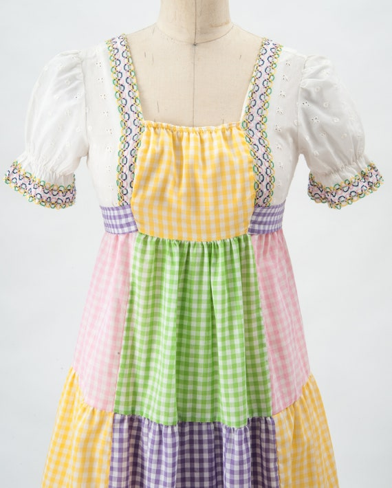 Vintage Boho Patchwork Maxi Dress, 60s Mod Dress,… - image 3