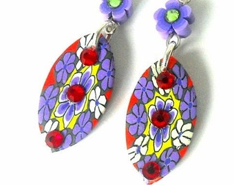 Purple and red earrings, floral polymer clay with crystals, large dramatic multicolored jewelry