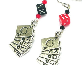 Gambling earrings, deck of cards, playing card suit, lucky dice, royal flush, casino theme, poker game, slot machine jackpot, roulette Bunco