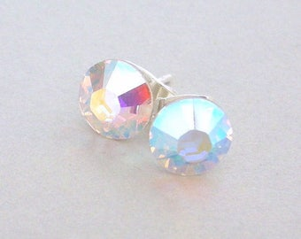 75edf474b Crystal AB Swarovski stud earrings, 7mm crystal AB studs, Swarovski aurora  borealis post earrings, bridal AB crystal studs, rhinestone