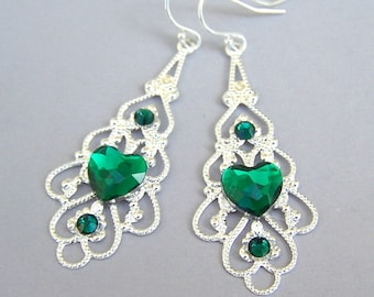 Green heart silver filigree earrings, Christmas gift, emerald hearts, green and silver, Swarovski crystal, bridesmaids jewelry