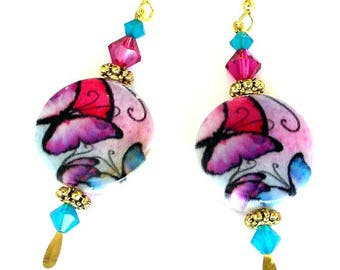 Butterfly shell earrings, Swarovski crystal, multicolored fuchsia, turquoise and red jewelry, coin shape, gold plated accents