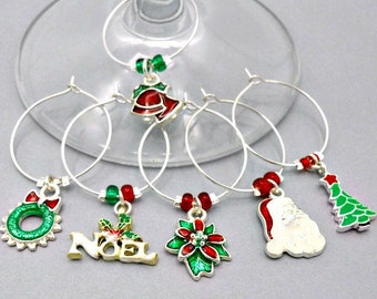 6 silver Christmas wine charms, holiday enameled wine glass charms, hostess gift, kitchen organization, book club gift, tree, wreath, Santa