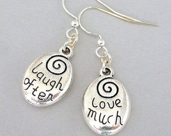 Silver inspirational earrings, Laugh Often, Love Much earrings, oval message, silver words, 12 step program gift, recovery gift, sobriety