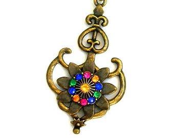 Steampunk necklace, antiqued brass nautical sea treasure necklace, multicolor rhinestone necklace
