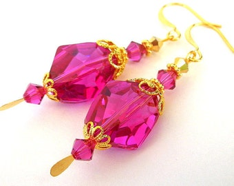 Fuchsia crystal earrings, Swarovski hot pink crystal with gold, birthday gift for her, bridal earrings, magenta pink, raspberry color