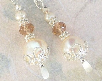 Pearl and crystal earrings, creamy white freshwater pearl drops with Swarovski crystal, bridal wedding, birthday gift for her