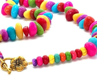 Multicolor gemstone necklace, candy jade necklace, bright multicolor nuggets, chunky stone necklace, colorful statement