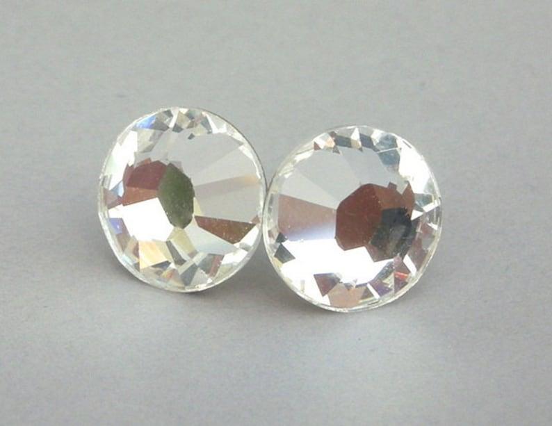 c2807c649a899 Rare 11mm Swarovski stud earrings, clear crystal posts, bridal wedding  earrings