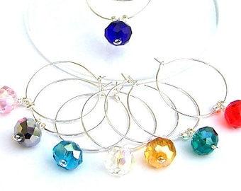 8 crystal wine glass charms, housewarming gift, multicolor elegant wine charms, hostess, wedding favors, unique bridal shower gifts, home