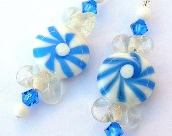 Blue and white glass earrings, pinwheel earrings, Swarovski crystal