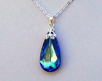 Bermuda Blue necklace, Swarovksi crystal teardrop bridal necklace, teal blue peacock, sterling silver, wedding jewelry