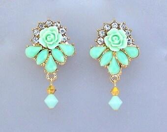 Mint green earrings with rhinestones, pale green flower bridal posts, light green and gold, bridesmaids, rhinestone gold romantic feminine