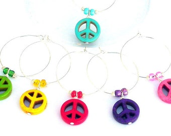 6 peace sign wine charms, colorful wine glass rings, rainbow, housewarming gift, hostess, kitchen organization, entertainment barware, LGBTQ