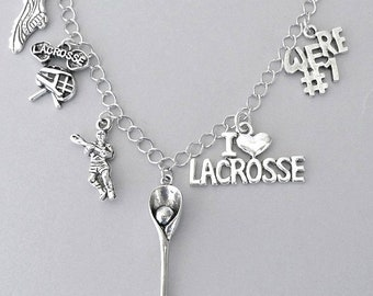 LaCrosse bracelet or LaCrosse charm necklace, sports jewelry, gift for player