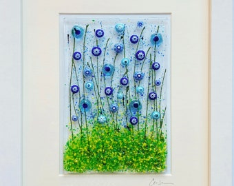 Fused Glass Flowers Floating Flowers Wildflower Glass Art Contemporary Glass White Framed Floral Art Happy Flowers Art