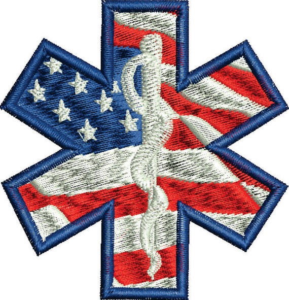 Usa American Flag Medical Symbolpatch Machine Embroidery Star Etsy