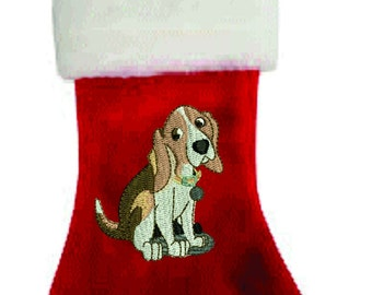 Christmas Beagle Stocking Free custom name