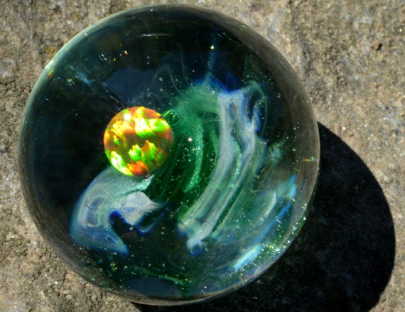 Encased Black Opal Cube Inside a Blue Moon and Dragons Blood Sparkly Universe Marble Handblown Glass