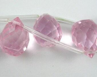 Pink Quartz Faceted Glass Briolette Teardrops, 12x9mm - 2 pcs
