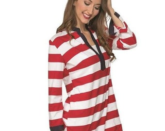 Monogram Tunic Top in Red/White Stripe with Navy Trim, Nautical