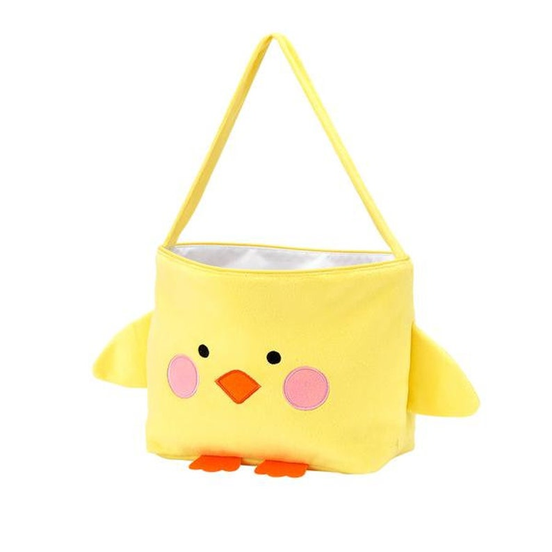 Personalized Baby Chick Easter Bag Bright Yellow Baby Chicken Easter basket