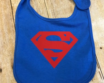 Super hero bib - blue with red