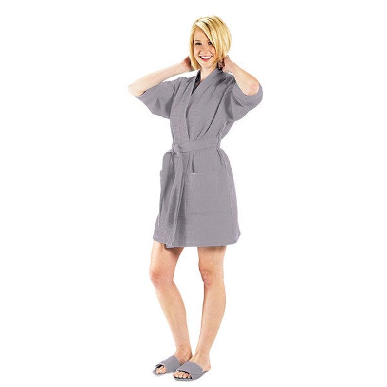 Waffle Weave Robe Gray