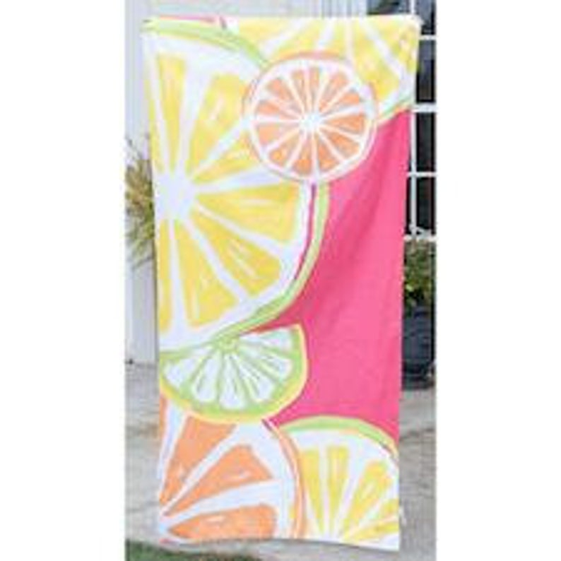 Monogram Microfiber Beach Towel Pink Fruit Slices Monogram Pool Lake Towel