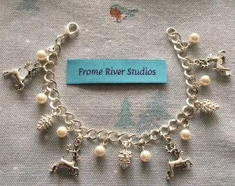 Winter Theme Charm Bracelet, Winter Jewelry, Winter Charms, Winter Bracelet, Pine Cone Charms, Winter Deer Charms, Gift, Let It Snow, w3