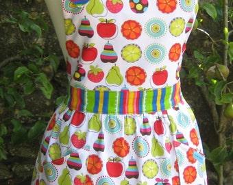 Fruit & Stripes Apron - Reversible Apron, Full Apron, Womens Apron