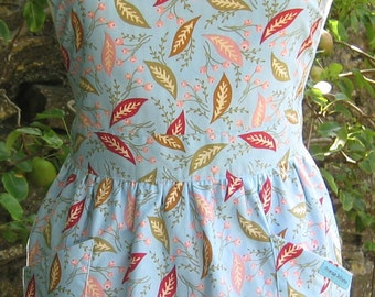 Leaves and Flower Buds - Reversible Apron, Full Apron, Womens Apron