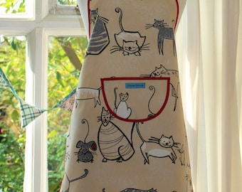 Cat and Mouse Print Apron.  Womens/Mens Full Apron
