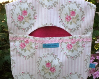 Roses and Stripes - Peg Bag, Clothes Peg Bag, Shabby Chic, Laundry Bag, Handmade