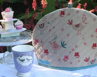 A Little Bird Told Me - Tea Cosy, Quilted Tea Cosy, Handmade, Size: Large