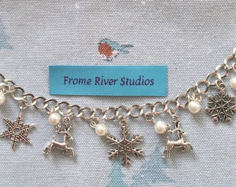 Winter Theme Charm Bracelet, Snowflake Charm Bracelet, Charm Bracelet, Winter Jewelry, Snowflake Jewelry, Gift for Women, Let It Snow, w6