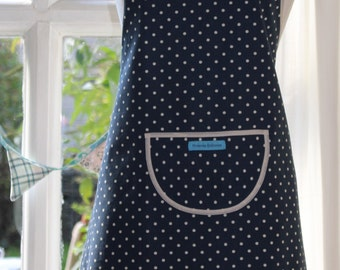 Dotty Spotty Navy Blue - Cream Edged, Navy Blue with White Spot Print Apron. Womens/Mens Full Apron