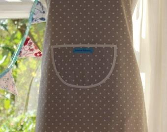 Dotty Spotty Oatmeal - Oatmeal and Cream Spot Print Apron. Women's/Men's Full Apron