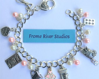 Baking Charm Bracelet with Pink Apron Charm, Heart Clasp, Baker Bracelet, Cook Bracelet, Gift for Bakers, Gift for Cooks,Statement Jewelry