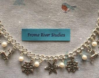 Winter Theme Charm Bracelet, Snowflake Charm Bracelet, Charm Bracelet, Winter Jewelry, Snowflake Jewelry, Gift for Women, Let It Snow, w1