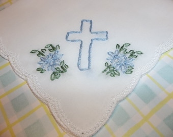 Godchild easter gift etsy baptismal gift first communion gift hand embroidery christening baptism handkerchief gift for baby girl easter gift cross hanky negle Image collections