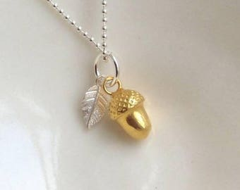 Gold Acorn with Silver Leaf Necklace
