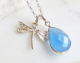 Gemstone and Silver Dragonfly Charm Necklace