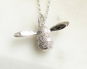 Silver Bee Charm Necklace