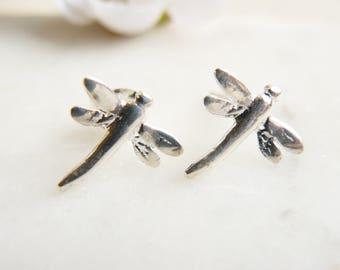 55fff739a Dragonfly Stud Earrings in Sterling Silver, Minimalist Earrings