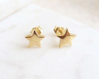 ed57693fc Solid Gold Star Stud Earrings, 9ct Gold Earrings, 9 Carat Gold Studs, Solid  Gold Studs, Simple Gold Earrings
