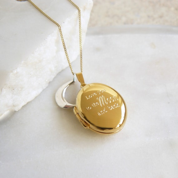 8b97c65409c9f Love You To The Moon And Back Gold Locket Necklace with Silver Moon Charm