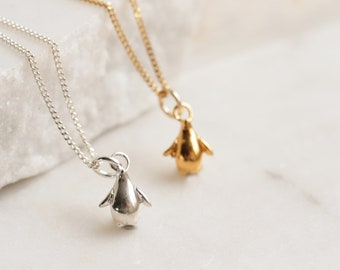 Tiny Penguin Charm Necklace Sterling Silver
