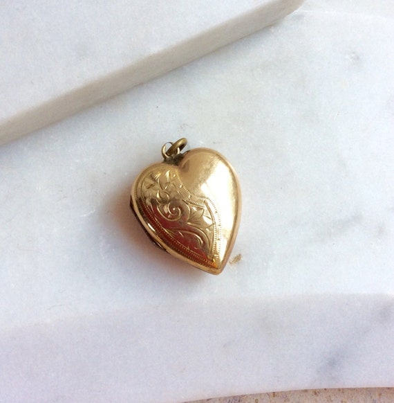 Large Vintage 9ct Gold Locket, Gold Engraved Heart