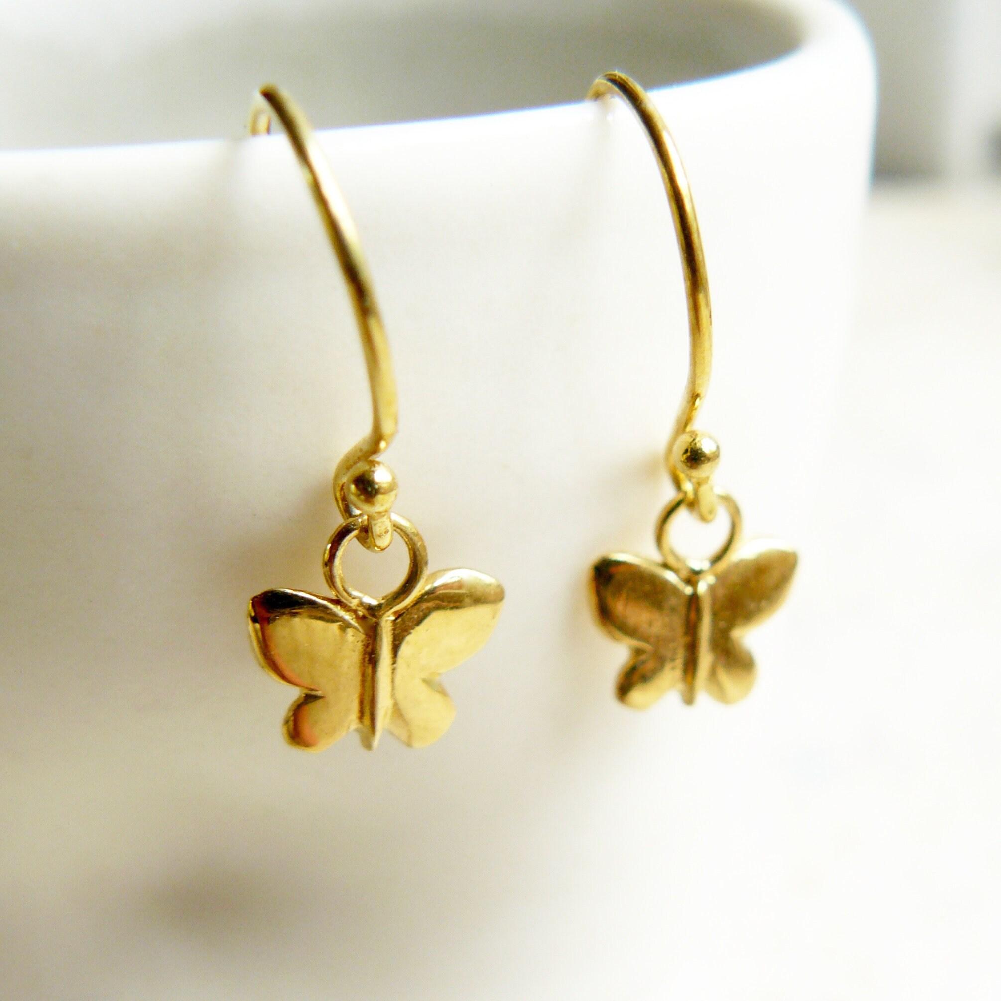 de07a3d04 Butterfly Gold Vermeil Hook Earrings | Etsy
